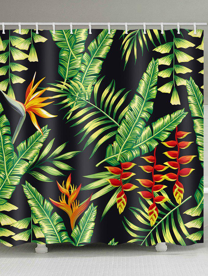 Tropical Leaf Print Waterproof Shower Curtain - multicolor W71 INCH * L71 INCH