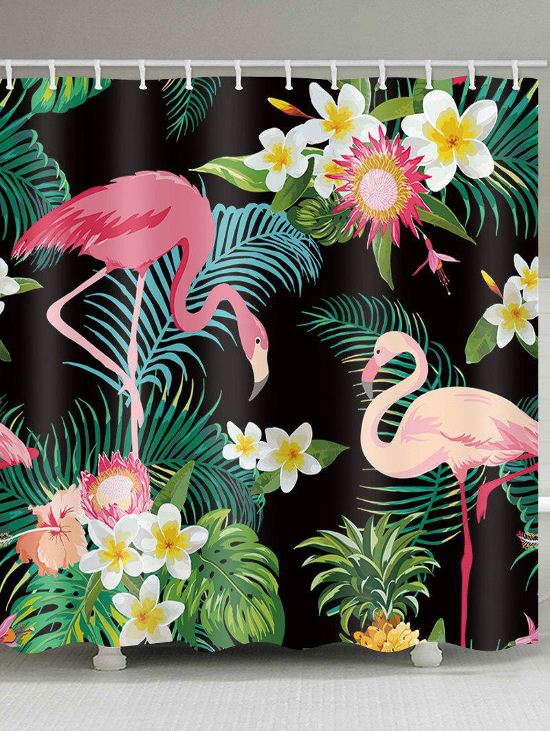 Flamingo Palm Leaf Waterproof Shower Curtain - multicolor W59 INCH * L71 INCH