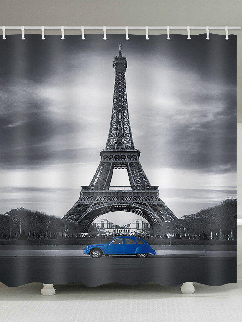 Eiffel Tower Blue Car Waterproof Shower Curtain - multicolor W71 INCH * L71 INCH