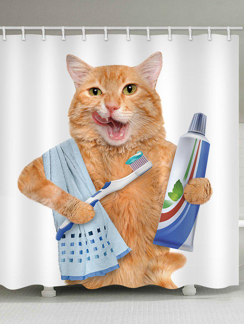 Orange Cat Brushing Teeth Waterproof Shower Curtain - WHITE W59 INCH * L71 INCH