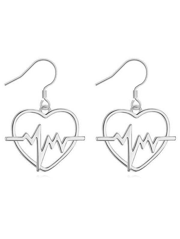 Pair of Hollow Out Heart Party Hook Earrings - SILVER
