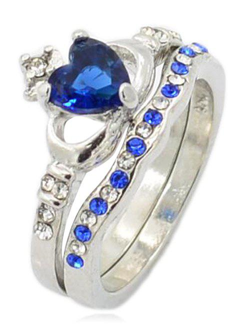 Unique Faux Sapphire Crown Wedding Ring - ROYAL BLUE US SIZE 7