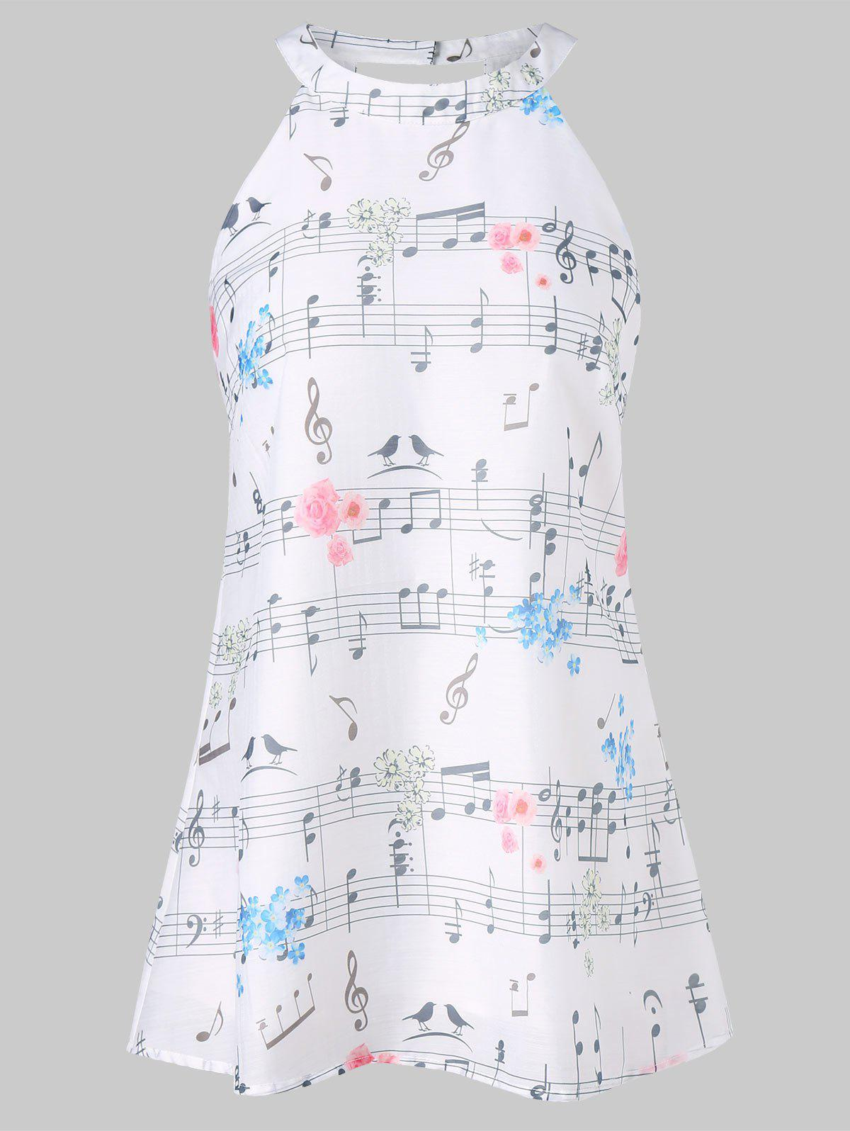 Music Printed Jewel Neck Tank Top - WHITE M