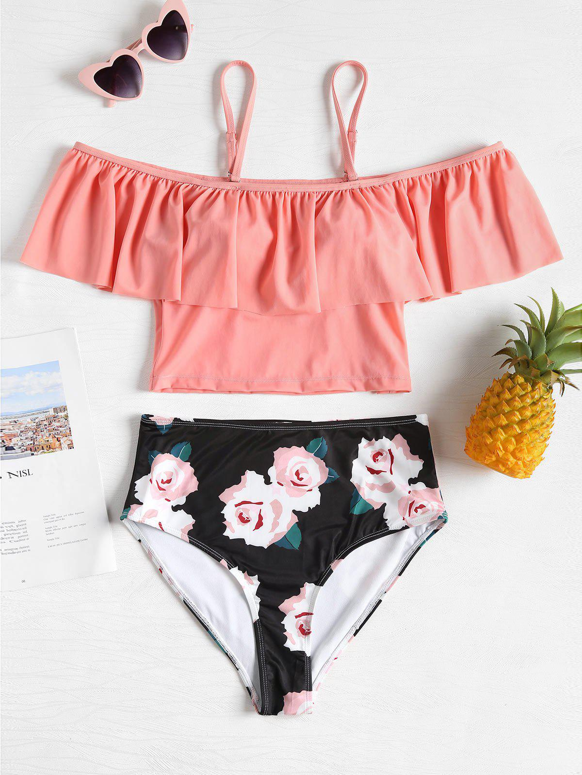 Two Piece Flounce Floral Swimsuit - ORANGE PINK S