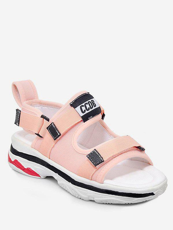 Plus Size Leisure Platform Heel Contrasting Color Sandals - PINK 42