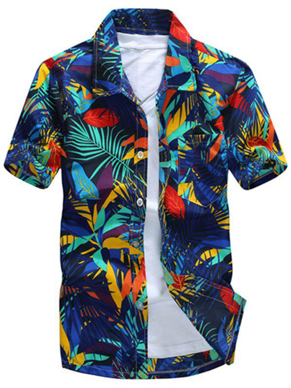 Short Sleeve Leaf Printed Hawaiian Shirt - BLUE M