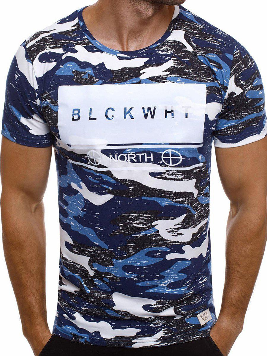 Camouflage Letter Print Short Sleeve T-shirt - BLUE L