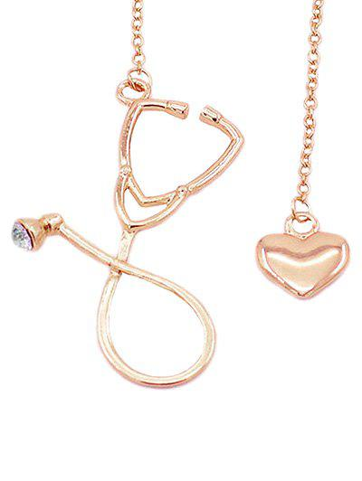 Vintage Stethoscope Heart Pendant Necklace Jewelry - ROSE GOLD
