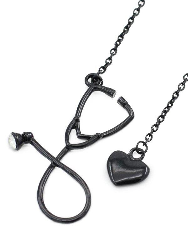Vintage Stethoscope Heart Pendant Necklace Jewelry - BLACK