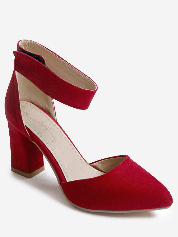 Plus Size Block Heel Leisure Pointed Toe Sandals - RED 42