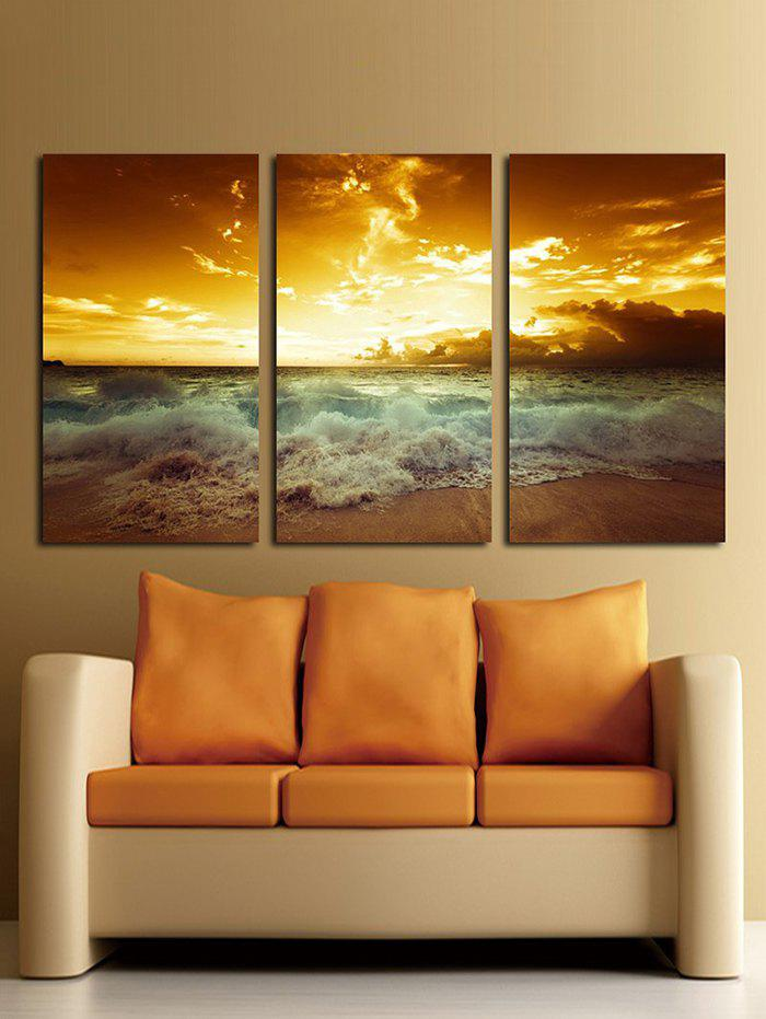 Sunset On The Sea Unframed Split Canvas Paintings - multicolor 3PC:16*24INCH(NO FRAME)