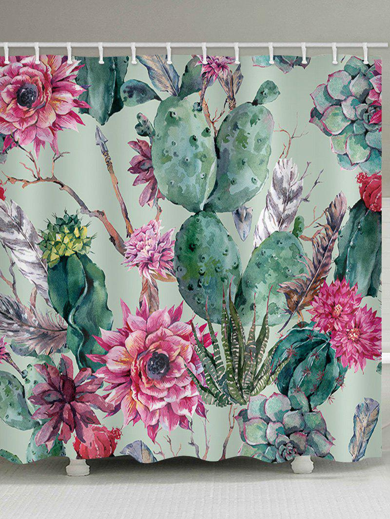 Succulents Flowers Print Waterproof Shower Curtain - multicolor W65 INCH * L71 INCH