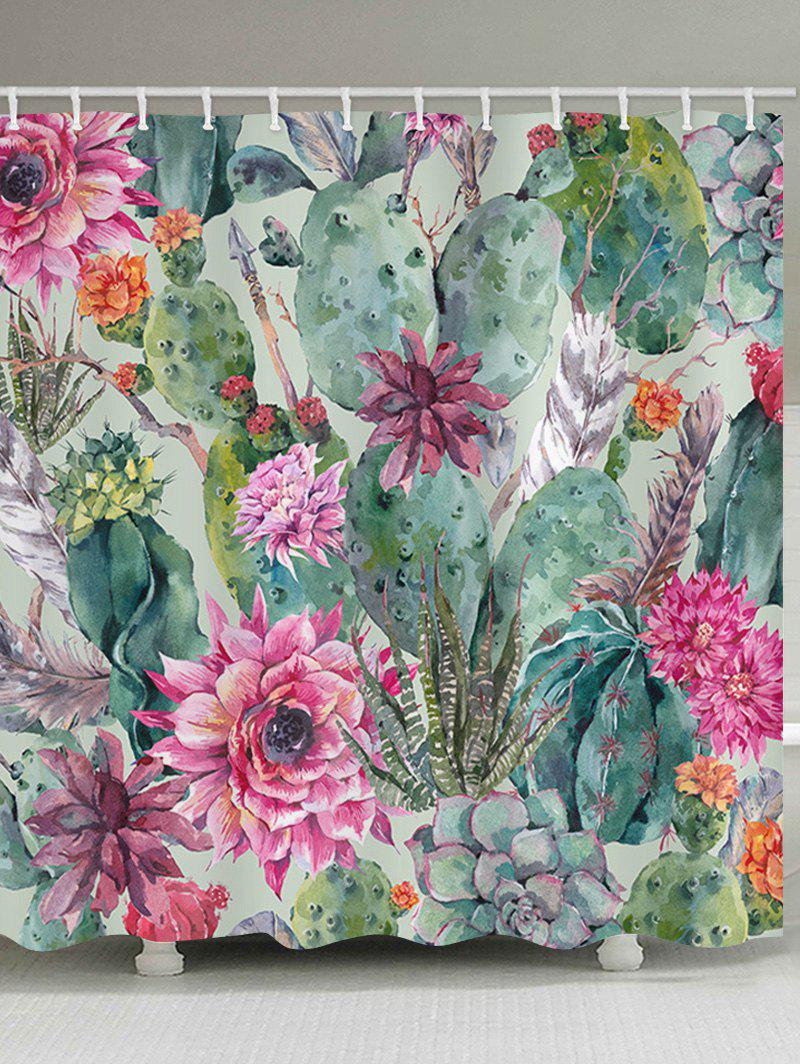 Flowers Succulents Print Waterproof Shower Curtain - multicolor W71 INCH * L79 INCH