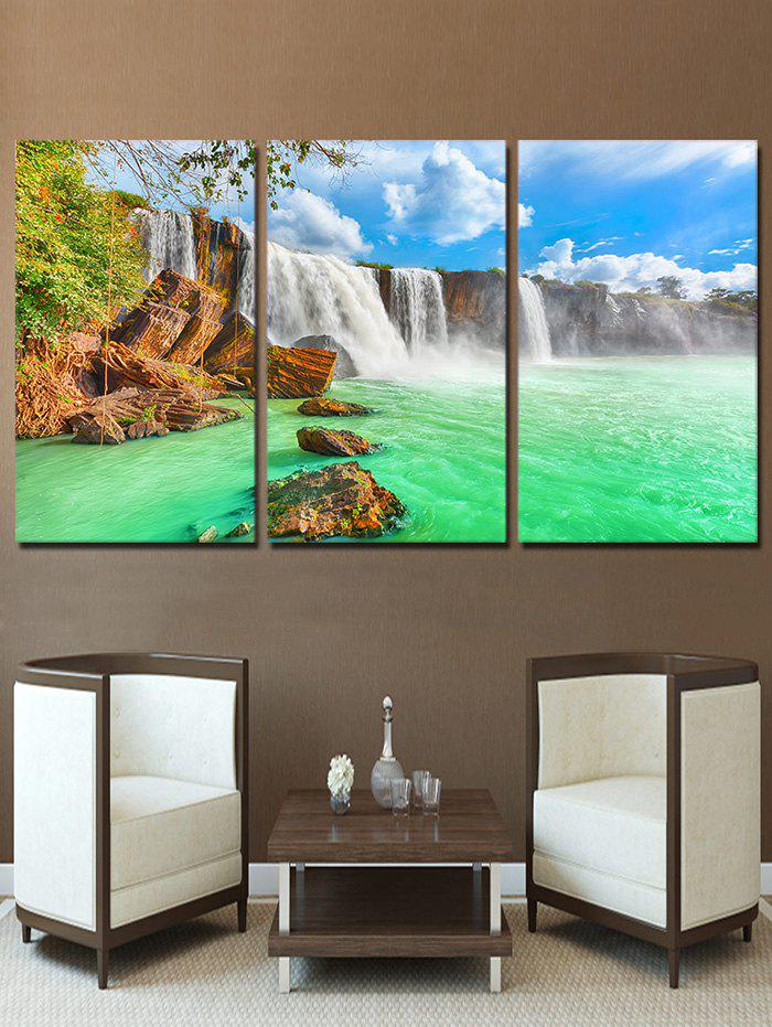 Waterfall River Print Unframed Canvas Paintings - multicolor 3PC:12*18 INCH( NO FRAME )