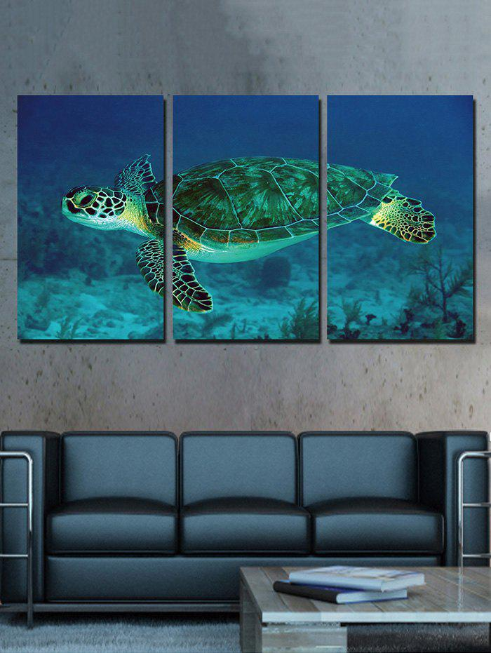 Sea Turtle Print Unframed Canvas Paintings - multicolor 3PC:12*18 INCH( NO FRAME )
