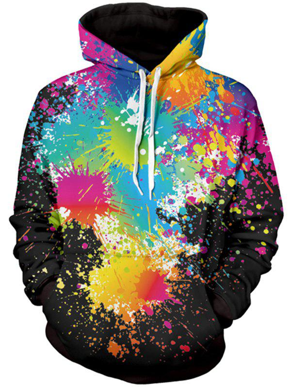 Long Sleeve Paint Splatter Print Pullover Hoodie - BLACK M