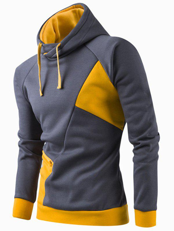 Inclined Zipper Classic Color Lump Splicing Rib Hem Slimming Hooded Long Sleeves Men's Hoodie - YELLOW 2XL