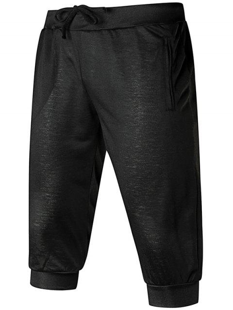 Solid Color Zip Pockets Drawstring Shorts - BLACK L