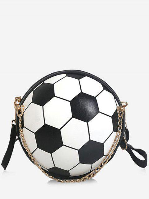 Color Block Football Shaped Crossbody Bag with Chain - BLACK