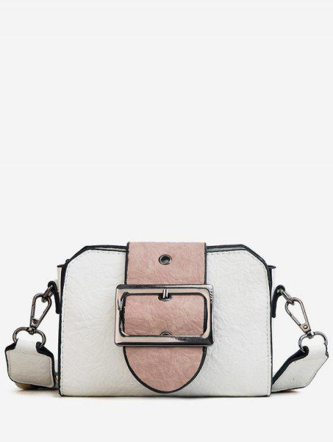Buckled Faux Leather Casual Contrasting Color Sling Bag - WHITE