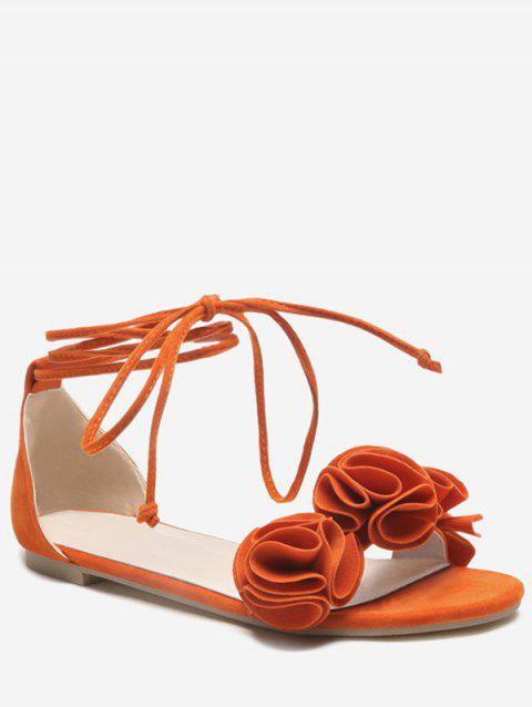 Plus Size Flat Heel Chic Floral Decorated Lace Up Sandals - PUMPKIN ORANGE 42