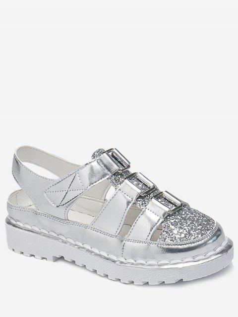 Paillette Round Toe Fisherman Sandals - SILVER 40