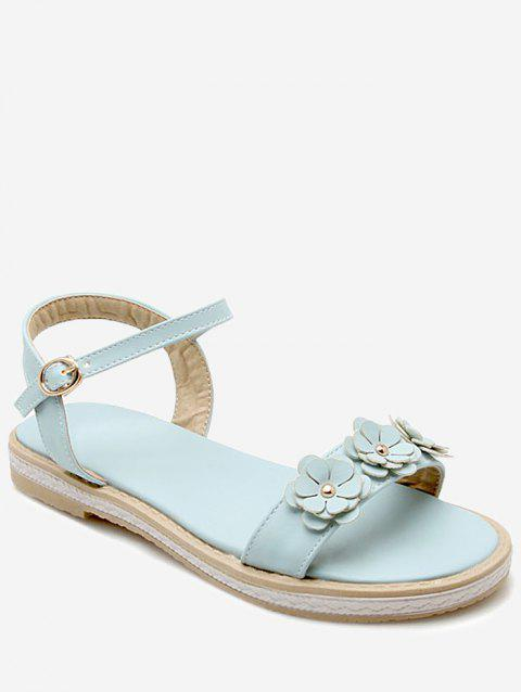 Plus Size Floral Embellished Buckled Ankle Wrap Sandals - LIGHT SKY BLUE 42