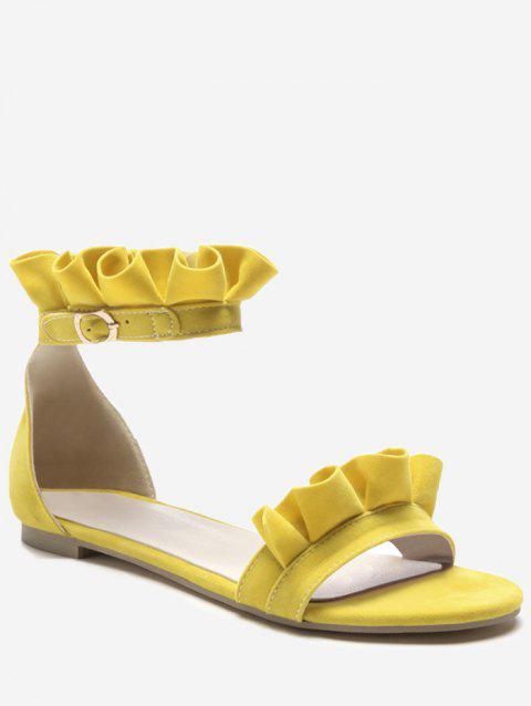 Plus Size Leisure Flat Heel Ankle Strap Ruffles Sandals - YELLOW 38