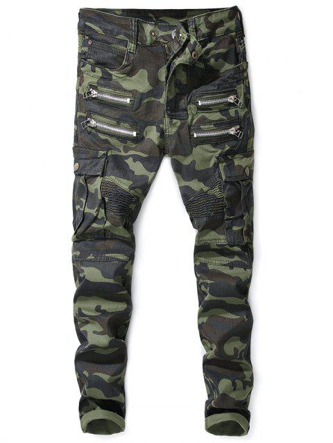 Zipper Fly Camouflage Pattern Patchwork Jeans - ACU CAMOUFLAGE 38