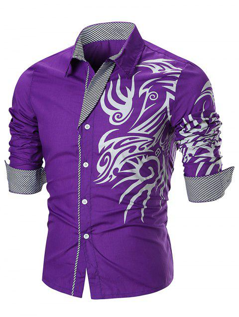 Dragon Print Button Up T-shirt - PURPLE 2XL