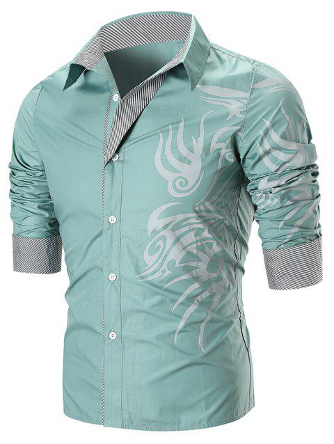 Dragon Print Button Up T-shirt - GREEN 2XL
