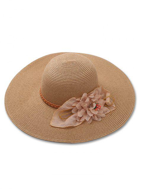 503746dd99687 LIMITED OFFER  2019 Braid Ribbon Floral Wide Brim Straw Hat In CAMEL ...