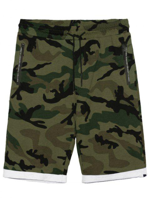 Camo Panel Zip Pockets Casual Shorts - CAMOUFLAGE GREEN L