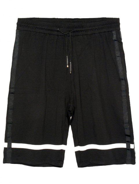 Drawstring Waist Panel Stripe Bermuda Shorts - BLACK XL