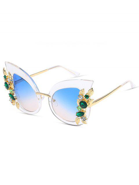 Anti UV Colored Rhinestone Inlaid Butterfly Sunglasses - DAY SKY BLUE