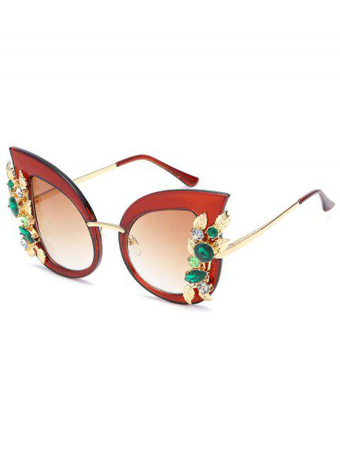 Anti UV Colored Rhinestone Inlaid Butterfly Sunglasses - BROWN