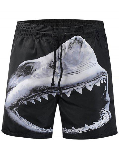 Shark Print Drawstring Quick Drying Beach Board - BLACK XL