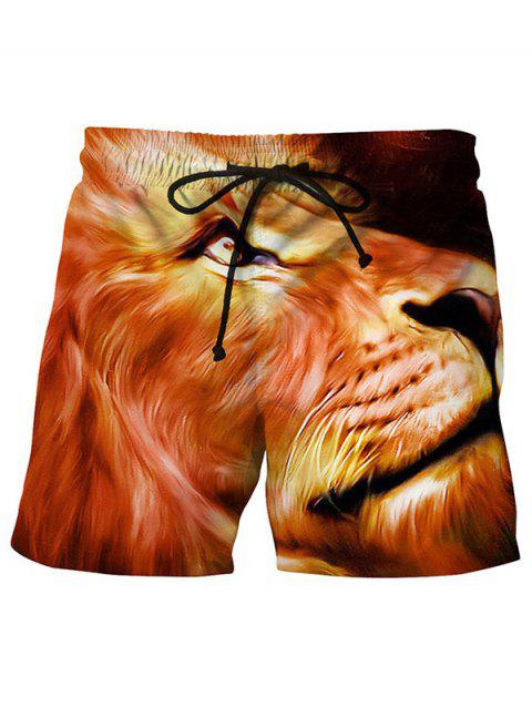 3D Lion Printed Side Pocket Summer Board - DARK ORANGE L