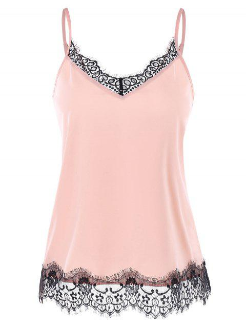 Lace Panel Cami Strap Top - LIGHT PINK L