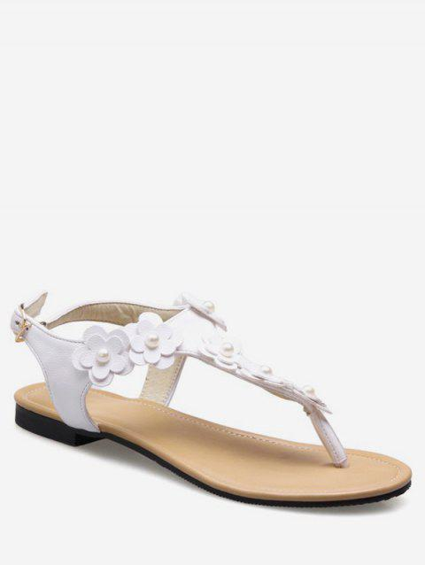 Plus Size Flat Heel Floral Embellished Thong Sandals - WHITE 39
