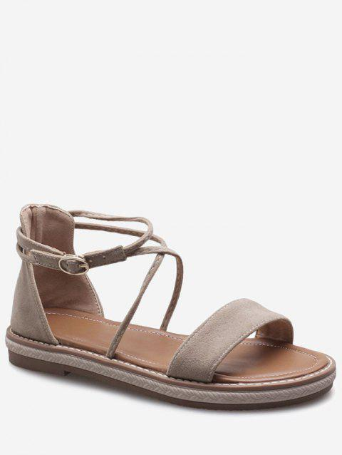 Plus Size Cross Strap Casual Dating Buckle Strap Sandals - BEIGE 42