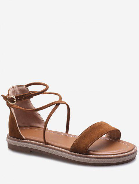 Plus Size Cross Strap Casual Dating Buckle Strap Sandals - BROWN 38