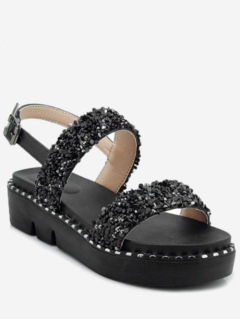 Plus Size Shimmer Glitters Studded Platform Sandals - BLACK 41