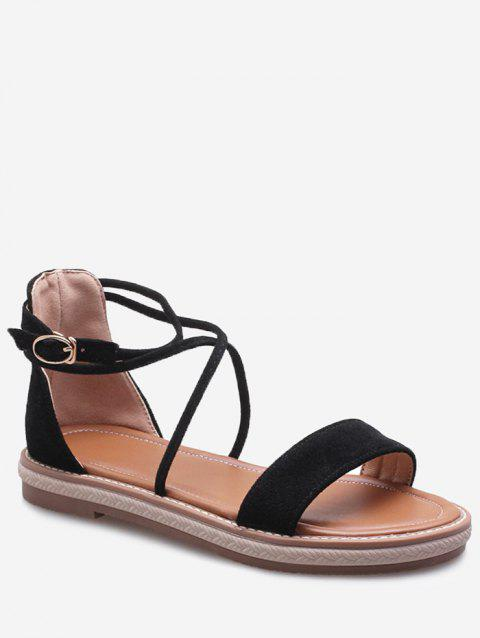 Plus Size Cross Strap Casual Dating Buckle Strap Sandals - BLACK 42