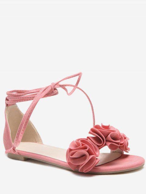 Plus Size Flat Heel Chic Floral Decorated Lace Up Sandals - PINK 40