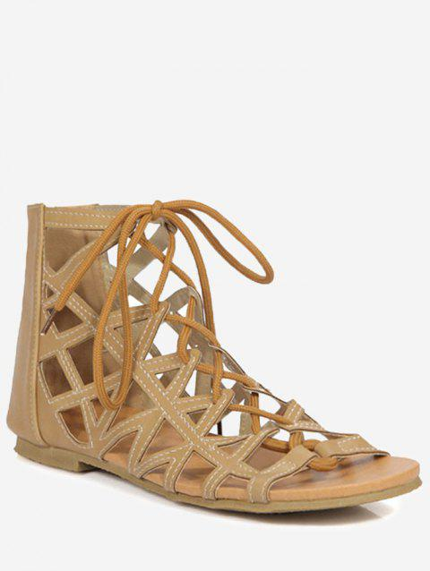 Plus Size Cut Out Crisscross Tie Up Sandals - CAMEL BROWN 37