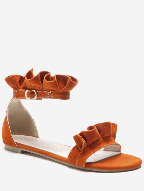 Plus Size Leisure Flat Heel Ankle Strap Ruffles Sandals - PUMPKIN ORANGE 37