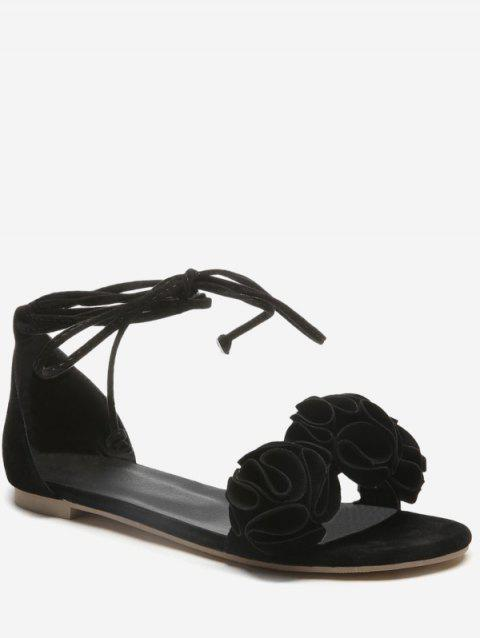 Plus Size Flat Heel Chic Floral Decorated Lace Up Sandals - BLACK 37