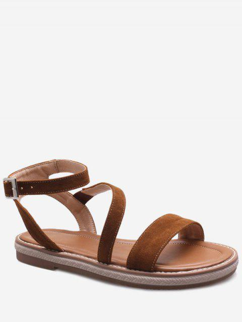 Plus Size Low Heel Outdoor Leisure Ankle Strap Sandals - BROWN 37