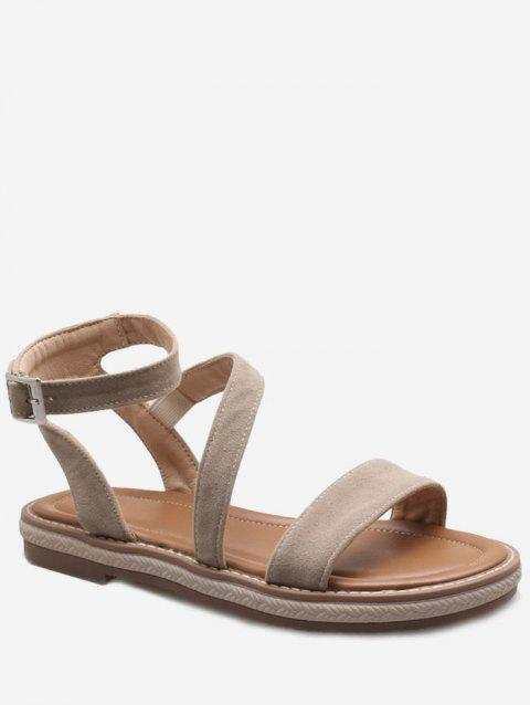 Plus Size Low Heel Outdoor Leisure Ankle Strap Sandals - BEIGE 38